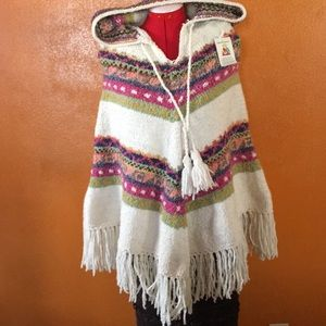 Bolivian Imports by Lucy Wool Hooded Poncho